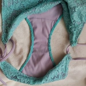 Victoria's Secret Swim - *Worn Once* VS 2 Tone Lace String Bikini Bottoms
